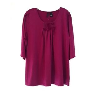 Gathered purple blouse